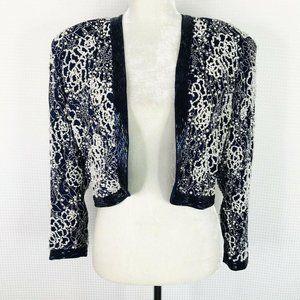 Diane Freis Vintage Jacket M/L Dark Blue Beaded